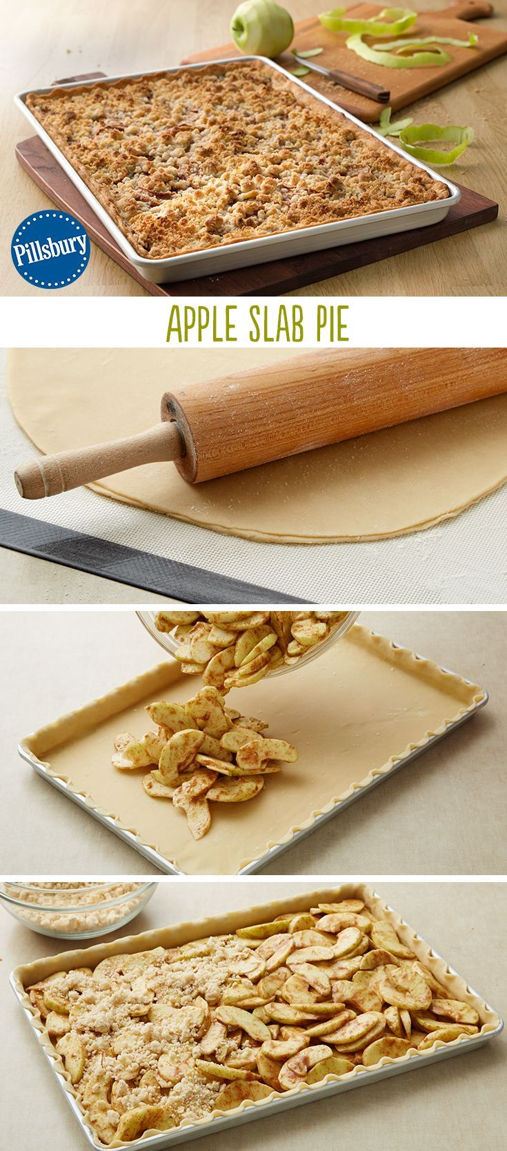 Slab Pie Serve a crowd with this Apple Slab Pie! Loaded with delicious apple and cinnamon flavor and big enough to serve 15 people, this classic streuseled version will delight all your guests. Perfect for the holidays too like Thanksgiving or Christmas.Serve a crowd with this Apple Slab Pie! Loaded with delicious apple and cinnamon flavor an...