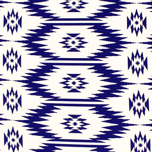 Royal Blue Off White Navajo Ethnic Peach Skin Fabric A