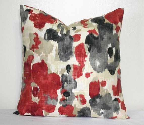 Red Tan and Charcoal Grey 18 inch Linen Decorative Pillow Accent Pillow Throw Pillow Cushion ...