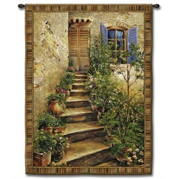 Large Tapestry Wall Hangings tuscan villa stairs ii tapestry wall hanging | large tapestry wall