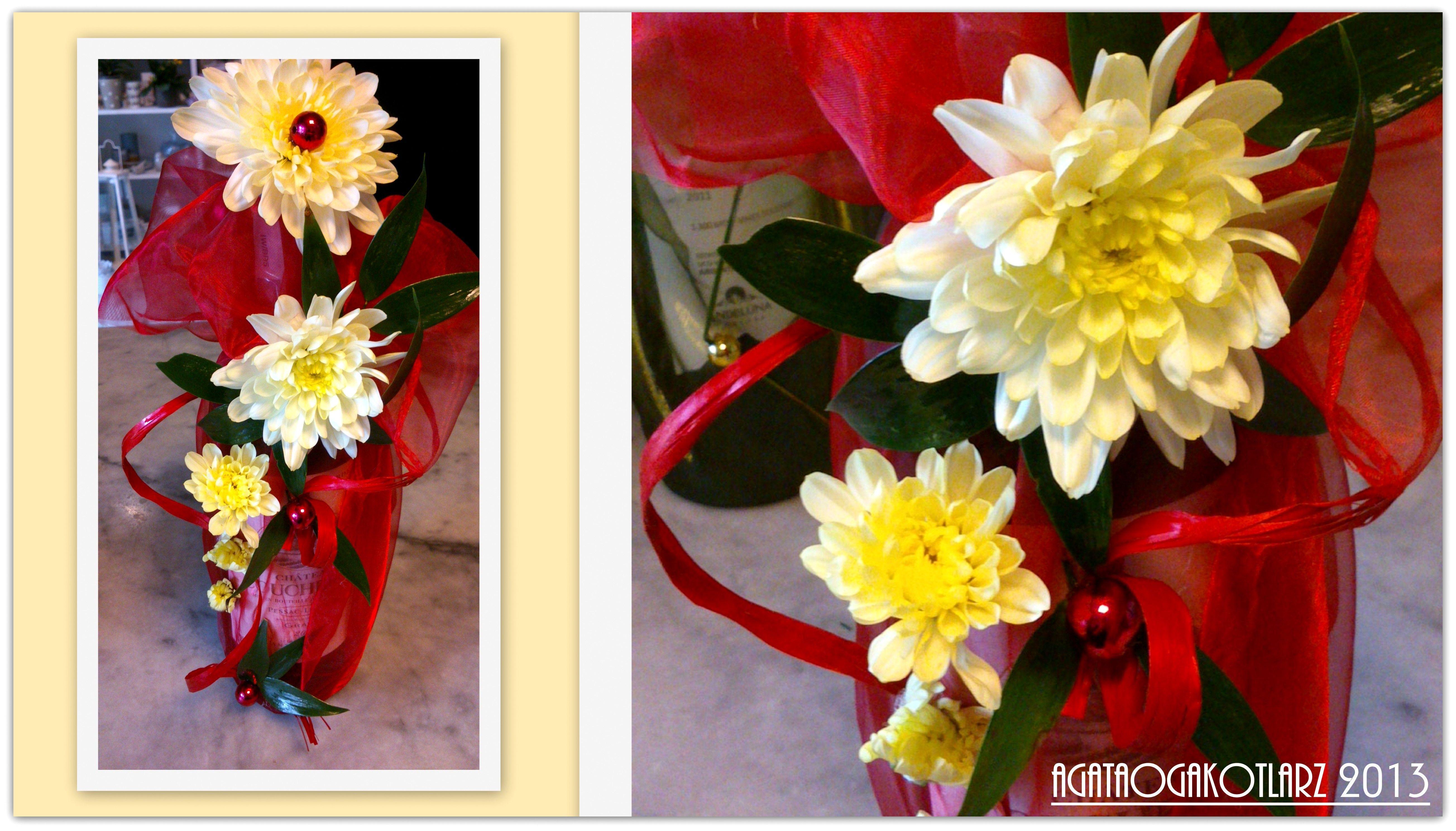 Butelka Wina Ozdobiona Zywymi Kwiatami Margaretki Plants