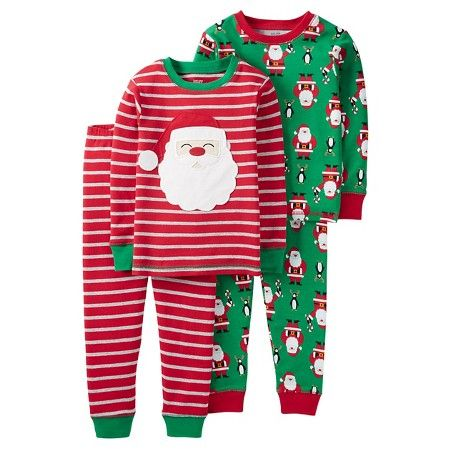 Carters Just One You Christmas 12M Santa Sleeper Footed Fleece Pajamas Set of 2