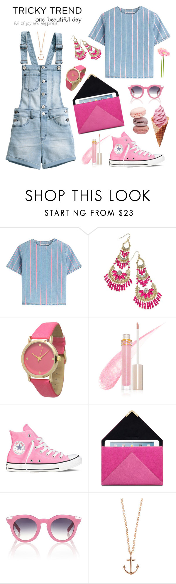 """""""Tricky Trend: Shortalls"""" by jasminerb ❤ liked on Polyvore featuring T By Alexander Wang, Thalia Sodi, Olivia Pratt, Stila, Converse, VIVETTA, Minor Obsessions, H&M, TrickyTrend and contest"""
