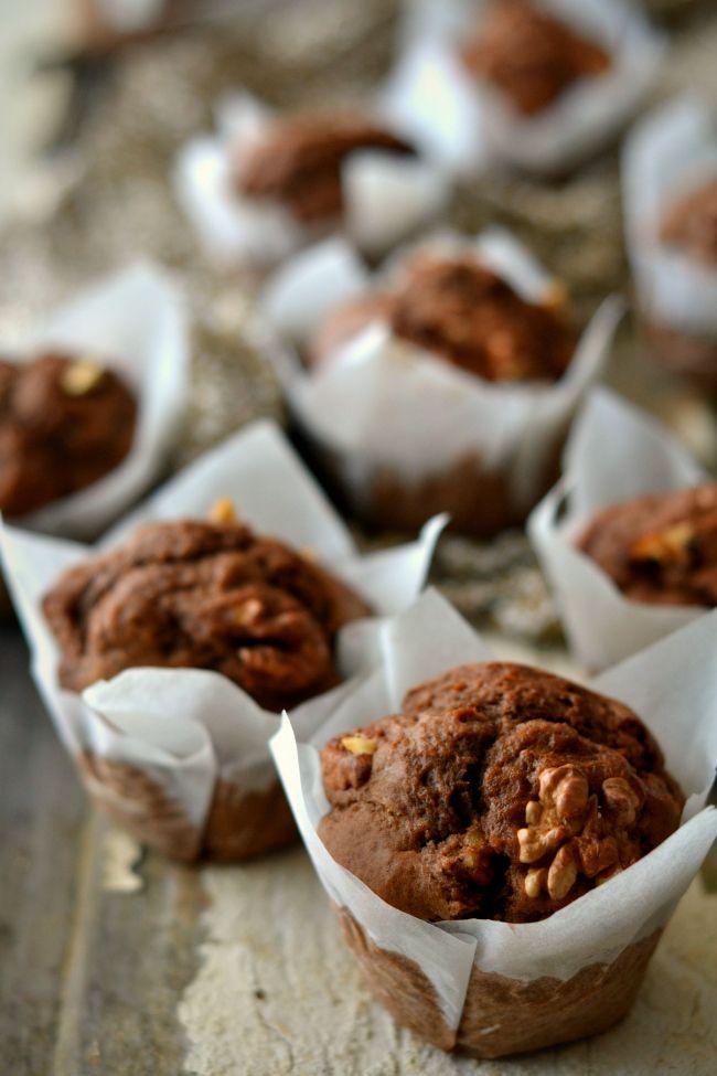 Potato, Chocolate and Walnuts Muffins