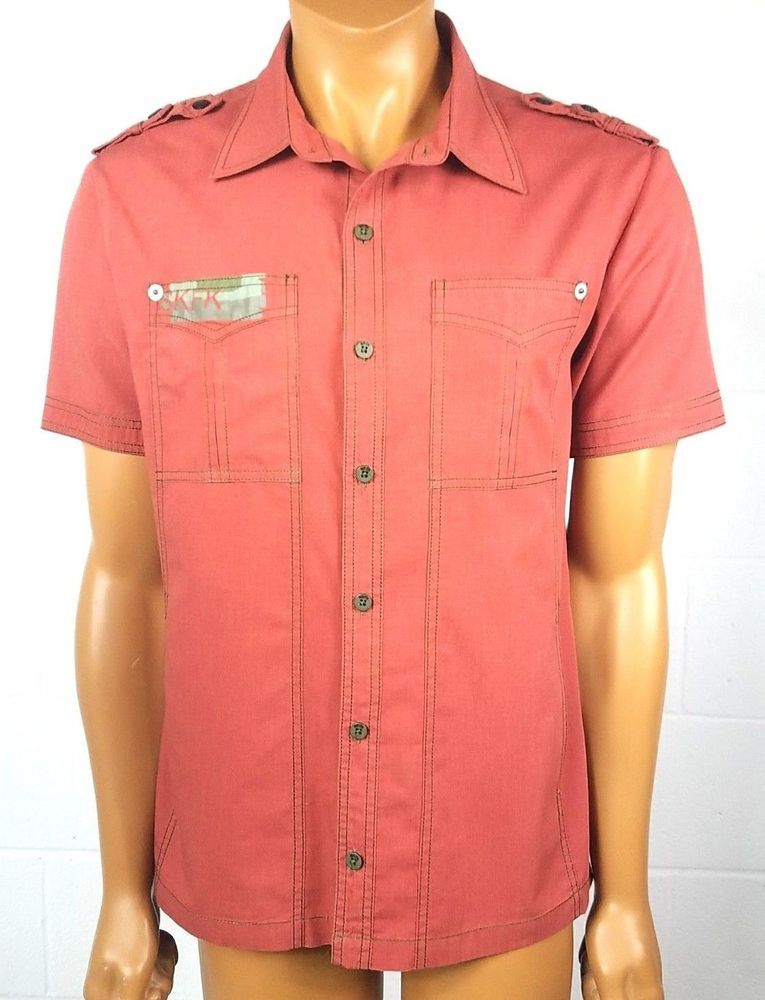 Details about skunkfunk mens red button up shirt size xl