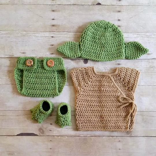 Crochet Baby Yoda Star Wars Set Hat Beanie Diaper Cover Robe Shirt ...