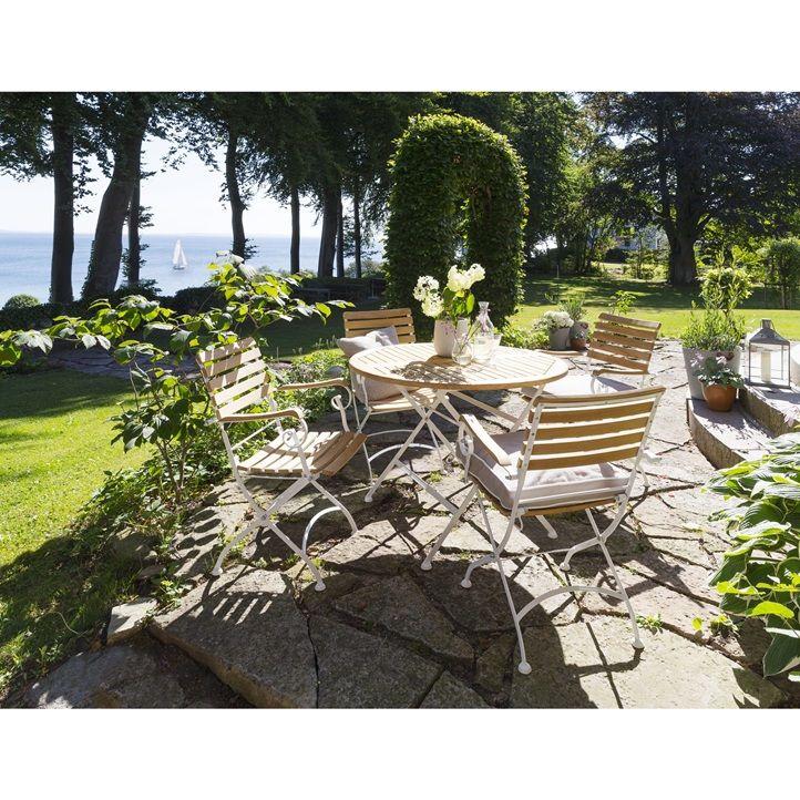 Merano havesæt i FSC® teak på hvidt metal stel. Bord Ø100 cm. Sætpris bord og 4 stole