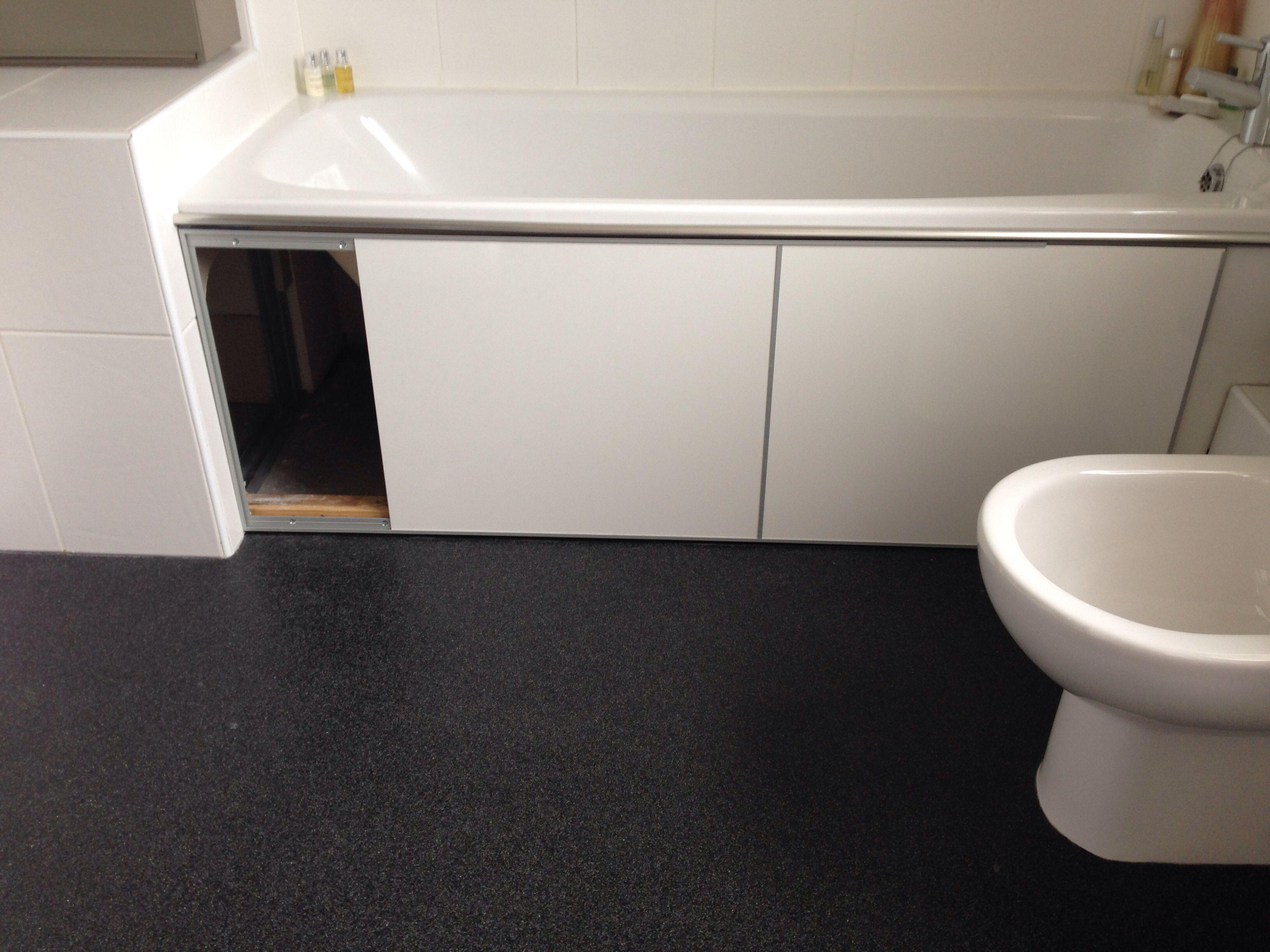 Sliding under bath doors made from Ikea Fastbo panels ...