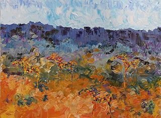 """Daily Painters Abstract Gallery: Impressionism Landscape, Abstracted Horse Painting """"Mares on the Mesa"""" by Colorado Impressionist Judith Babcock"""