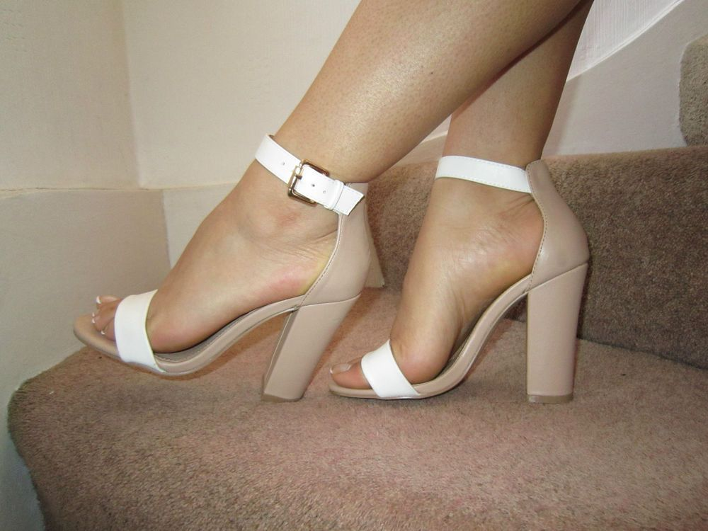 Details about Nude White Barely There Ankle Strap Chunky Heels ...