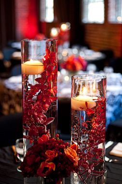 Submerged Red Flower Centerpiece Google Search Candle