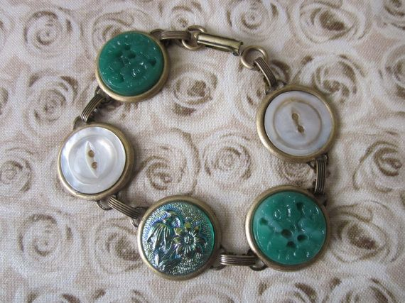 Iridescent glass button bracelet with vintage glass and shell buttons