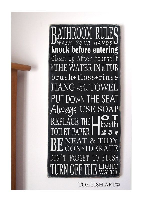 BATHROOM RULES   NEW Vintage Style Typography Word Art Sign  You Pick The  Colors