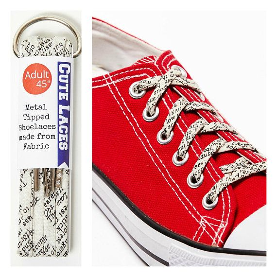 4d5489b215ef Shoelaces - covered in Words - Shoe Laces - Reader Gift - Writer Gift Idea  - Wedding Shoelaces - Blogger Gift  bloggerlife  writers  writersgift  words    ...