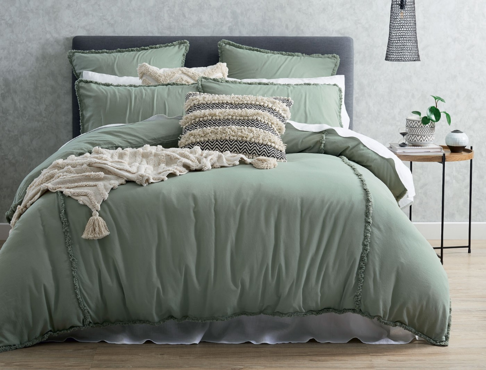 Simple And Contemporary The Frankie Seagrasss Quilt Cover Will Appeal To Those Seeking An Ef Bedroom Comforter Sets Green Comforter Bedroom Sage Green Bedroom