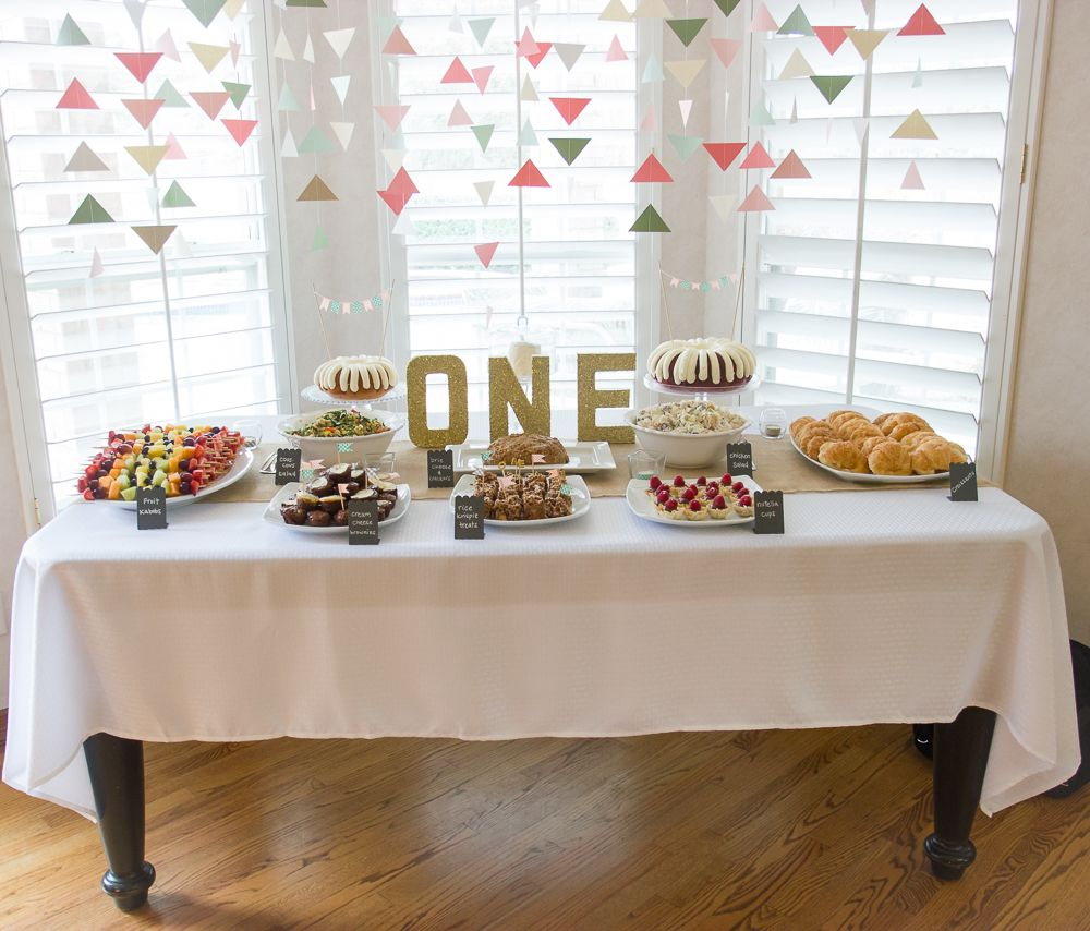 Baby Girl First Birthday Party Food Table
