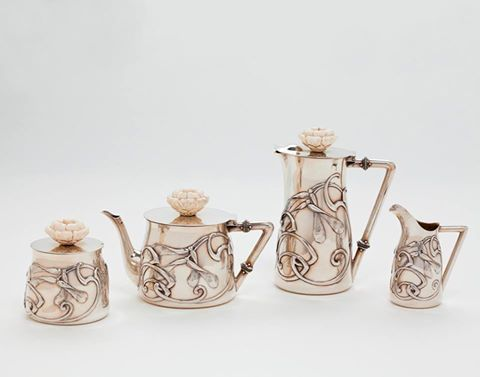 Art Nouveau Tea and Coffee set by Philippe Wolfers (Silver and ivory) 1895