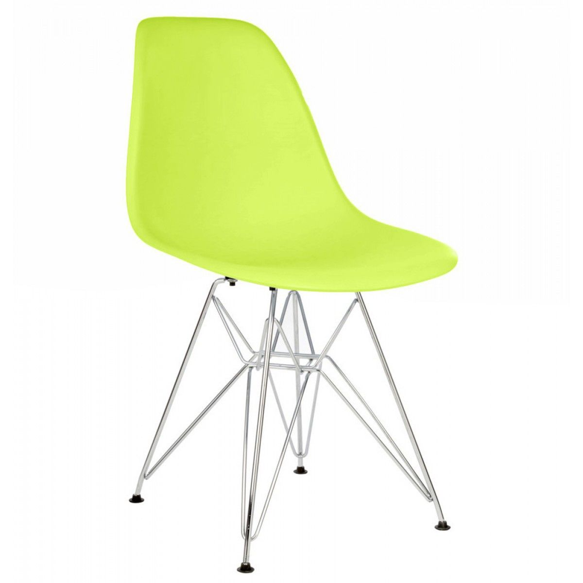 Eames Style Dsr Molded Lime Green Plastic Dining Shell Chair With Steel Eiffel Legs Solid Wood Dining Chairs Modern Side Chairs Side Chairs