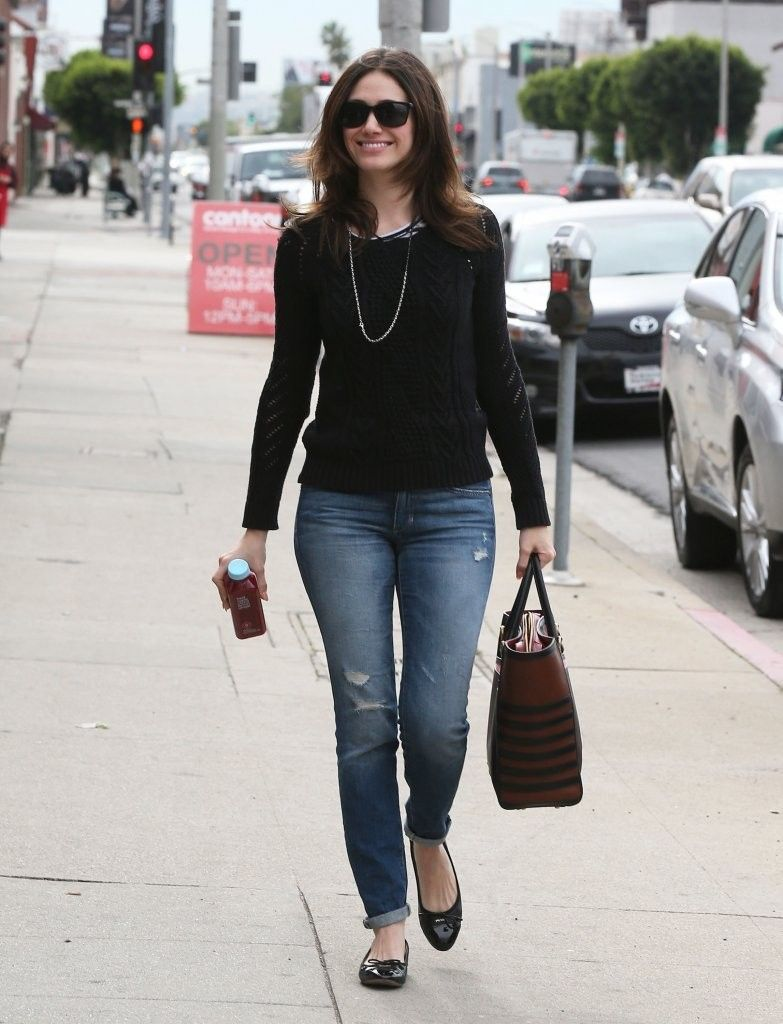 Emmy Rossum spotted wearing Joe's Vintage Reserve Rolled Skinny ...