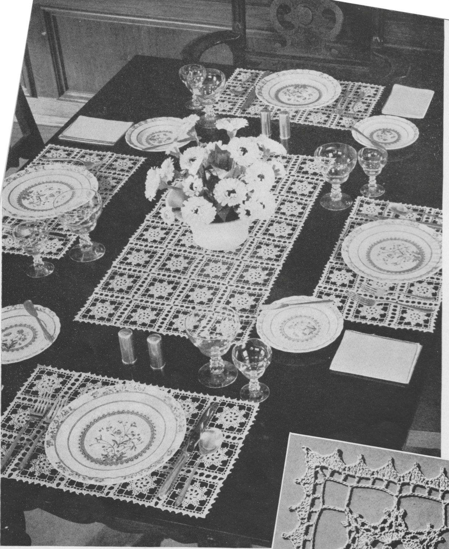 269 PDF Vintage Table Setting Set Crochet Pattern, Placemats ...