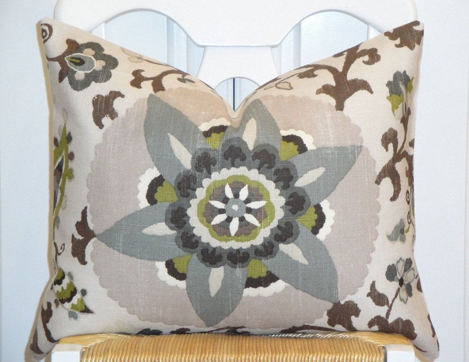 Beautiful Decorative Pillow Cover - 16 x 20 - Floral - Suzani - Steel Blue - Olive Green - Gray ...