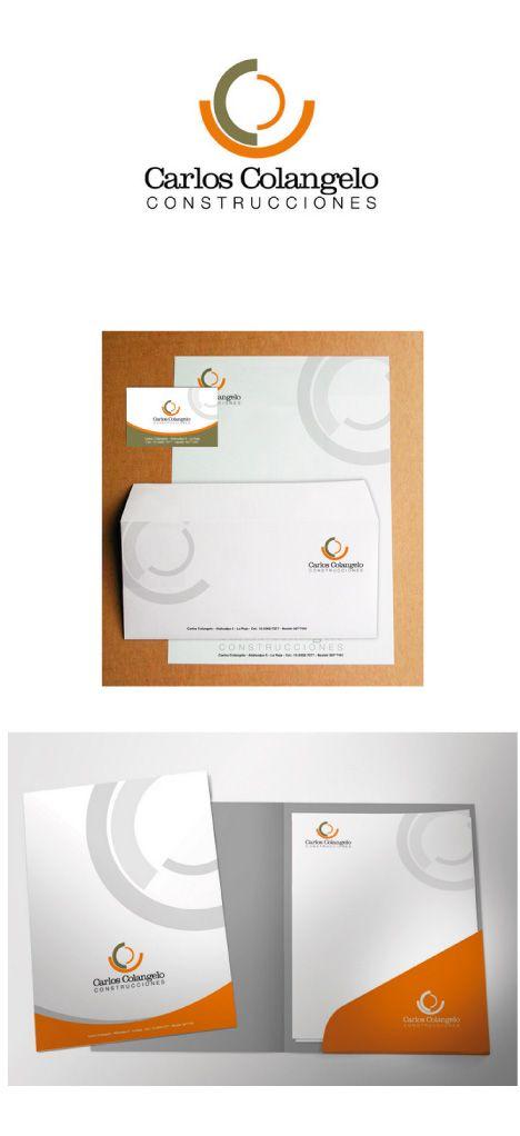 Carlos Colangelo Construcciones. Diseño de logo, aplicación en papelería comercial. Tarjetas personales.