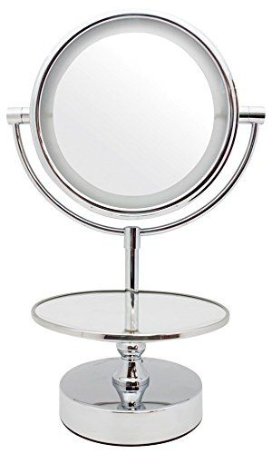 Danielle Chrome Led Lighted 2 Side Swivel Vanity Make Up Mirror With 10x Magnification And Jewelry Stand Makeup Mirror Light Jewelry Makeup Mirror With Lights