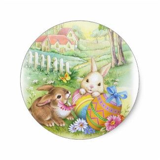 Easter paradise home zazzle store easter gifts pinterest shop vintage nostalgic easter bunnies card created by easterparadise negle Images