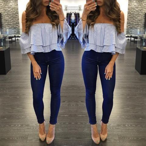 Looks con jeans y blusa de encaje, looks con jeans, outfits