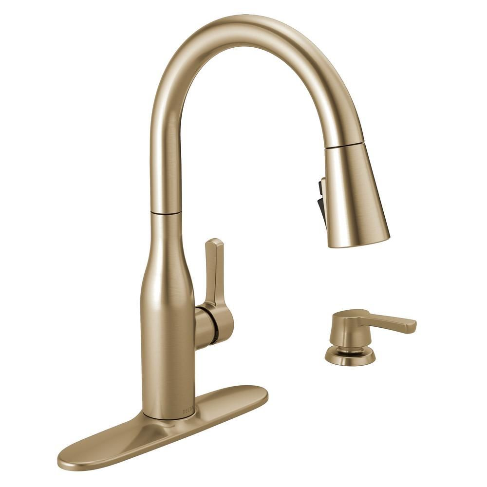 Delta Marca Single Handle Pull Down Sprayer Kitchen Faucet With Shieldspray Technology In Champagne B Kitchen Faucet Bronze Kitchen Faucet Delta Kitchen Faucet