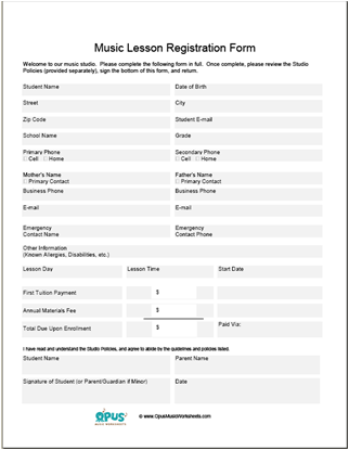 Music Lesson Registration Forms