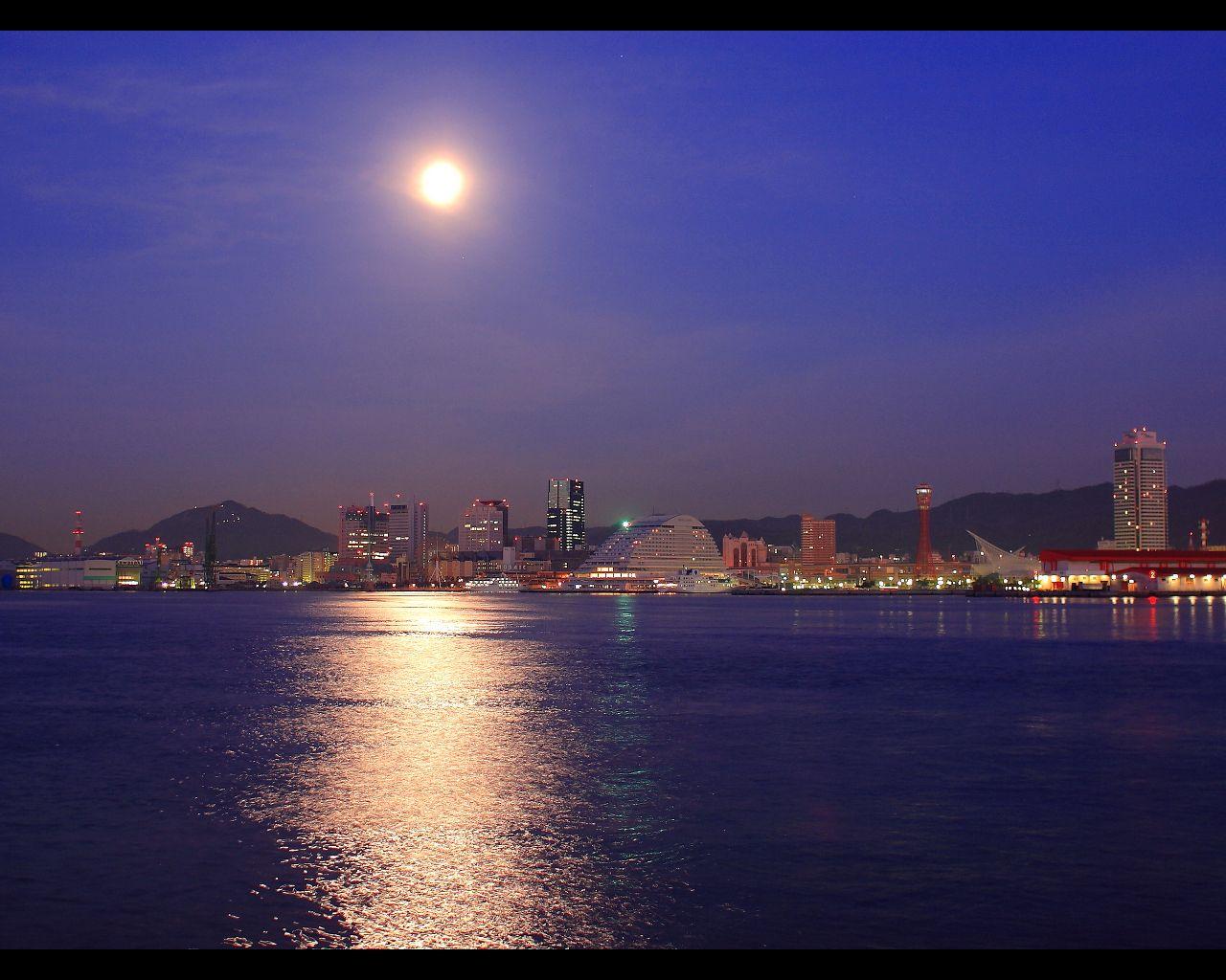 月光 神戸港にて Hazy Moon S Blog 夜景壁紙 Com 夜景の画像