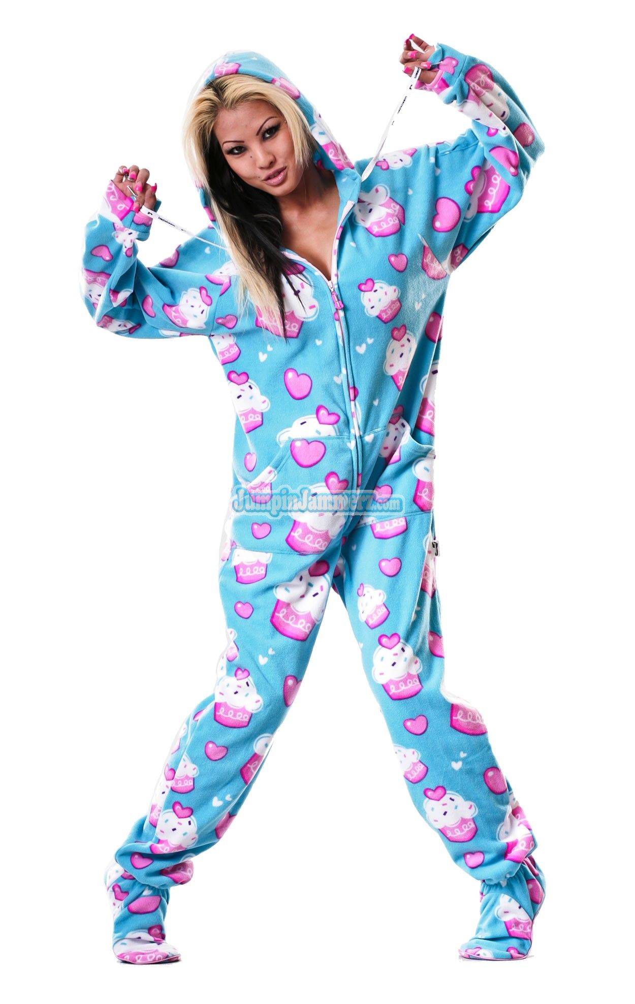 Cup Cakes Hooded Footed Pajamas Pajamas Footie Pjs