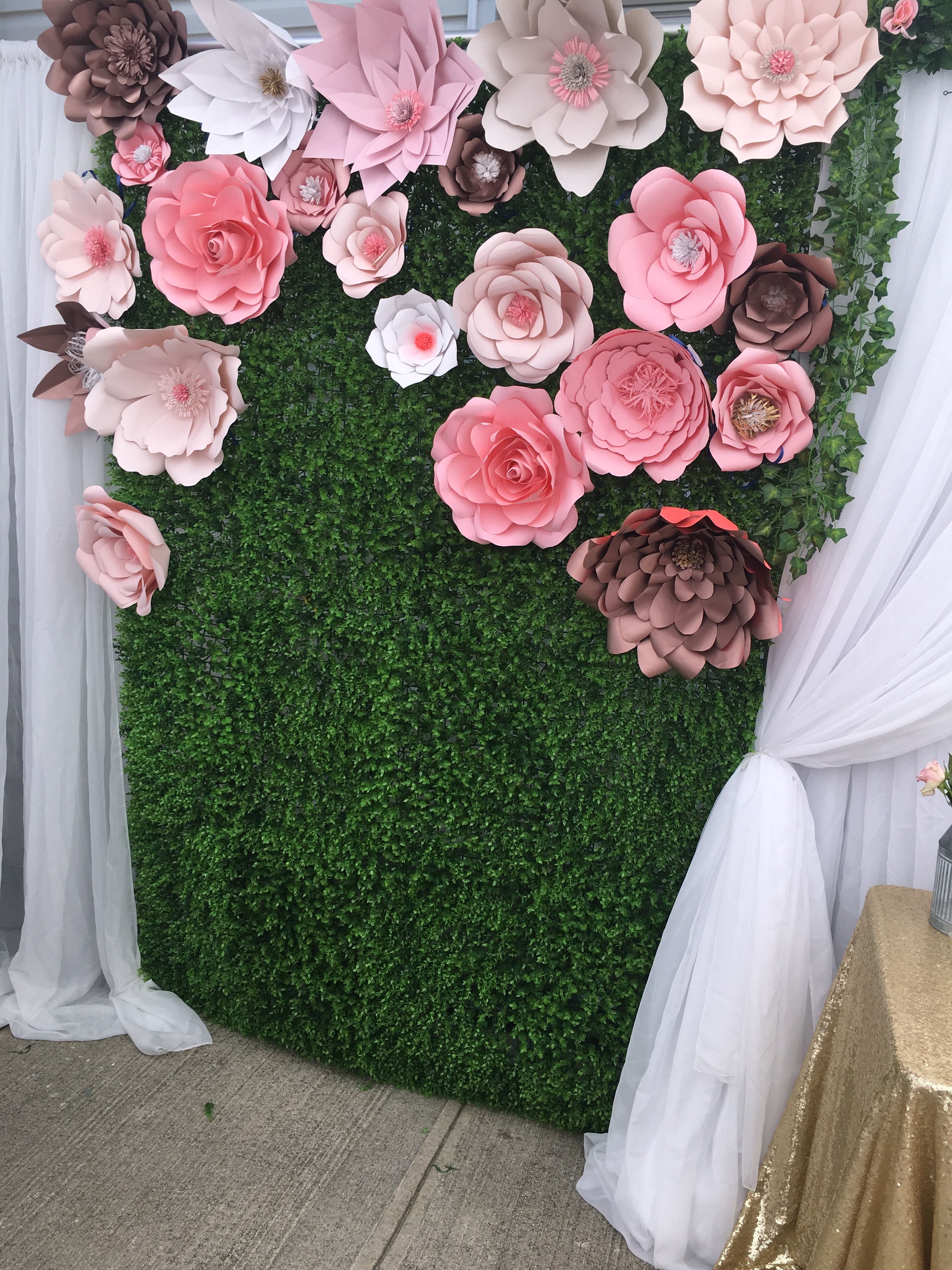 Grass wall with beautiful blush, rose gold, pink and white