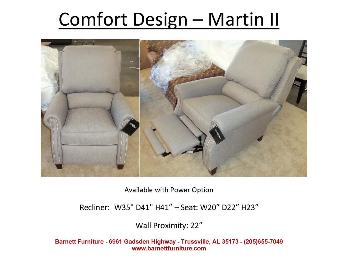 Charmant Comfort Design Martin II Recliner. You Choose The Fabric Or Leather.