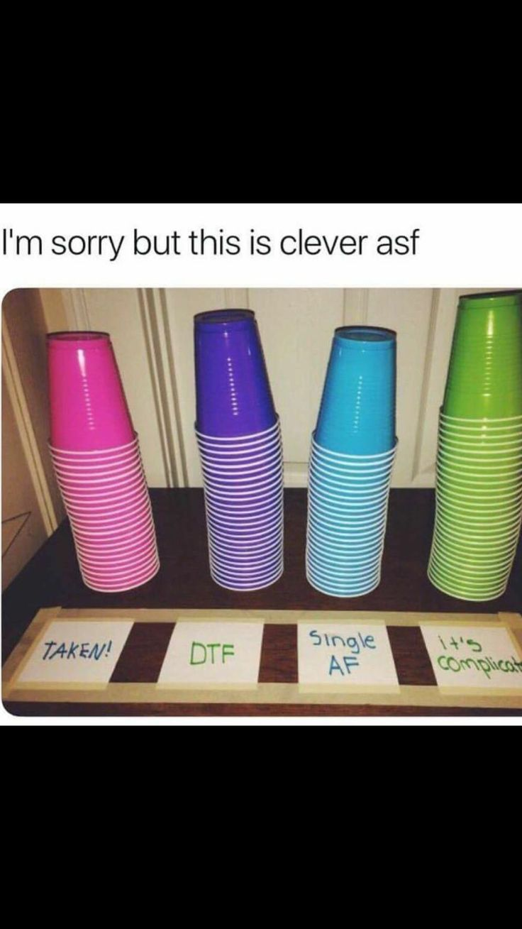 Color-coded drinking cups for parties ... who is single and who is taken or ... -  - #Colorcoded #Cups #Drinking #parties #Single