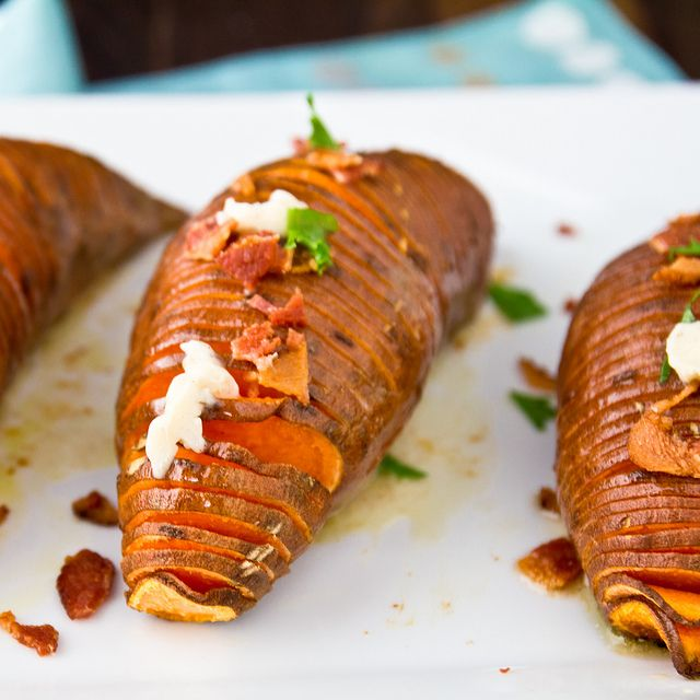 Hasselback Sweet Potatoes with Maple-Cinnamon Butter and Bacon by foodiebride, via Flickr