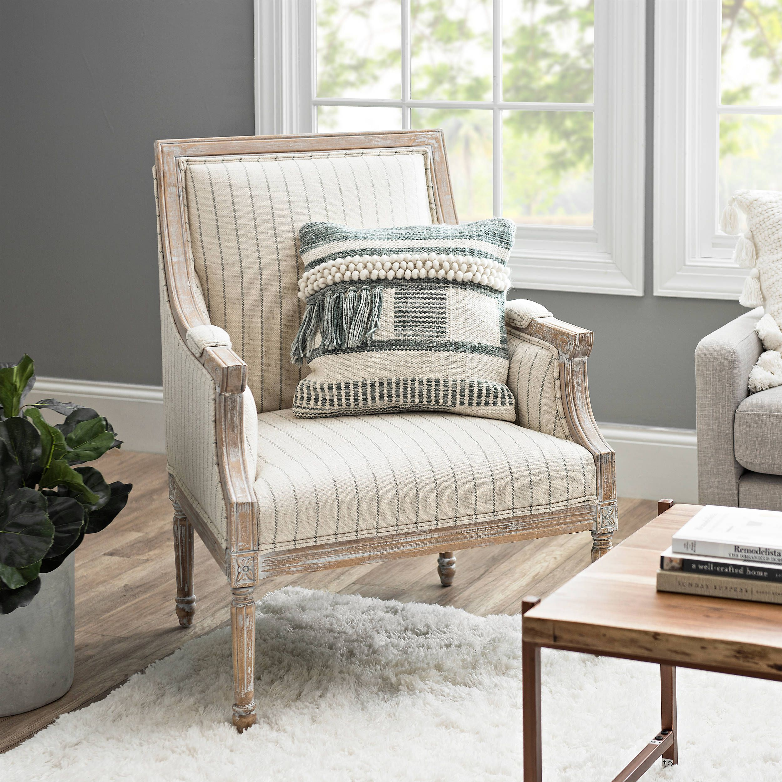 Best Product Details Mckenna Gray And Cream Stripe Accent Chair 400 x 300