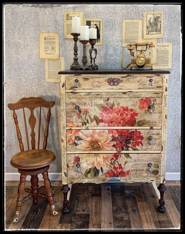 Sold Hand Painted Antique Floral Dresser Decoupage Furniture Painted Furniture Hand Painted Furniture