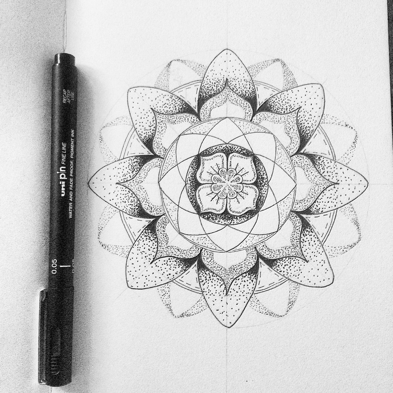 Mandala And Flower Tattoo: Mandala Flower Dot Work Tattoo