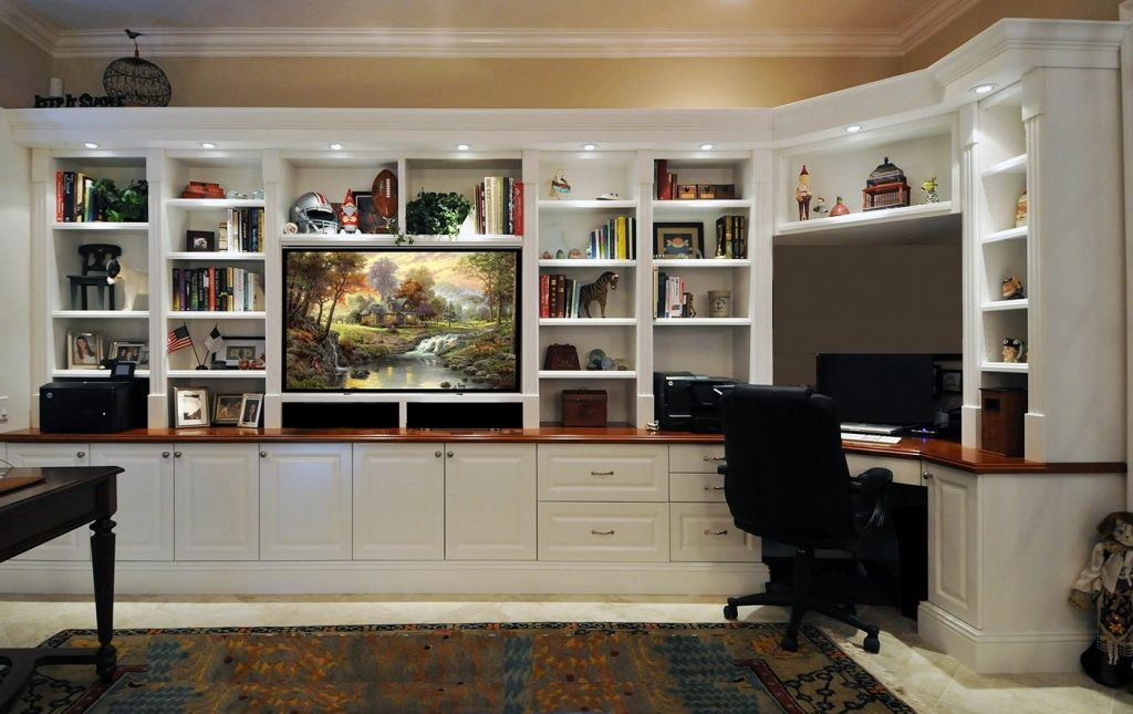 Remodelaholic Build A Wall To Wall Built In Desk And Bookcase Regarding Wall Unit Desk Combo Desk Wall Unit Built In Wall Units Bookcase Wall Unit
