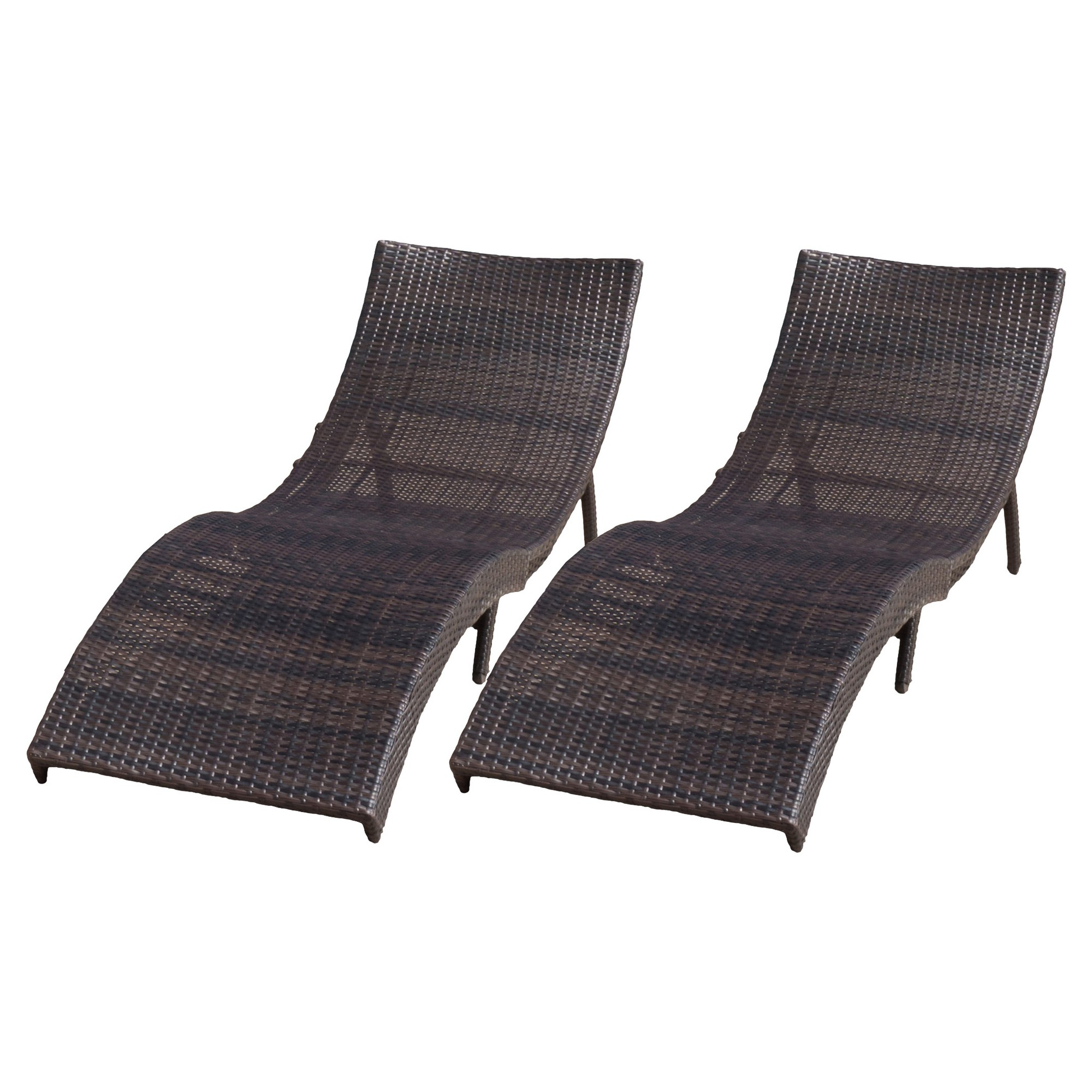 Chaise Longue Acapulco Acapulco Set Of 2 Wicker Folding Chaise Lounge Multibrown