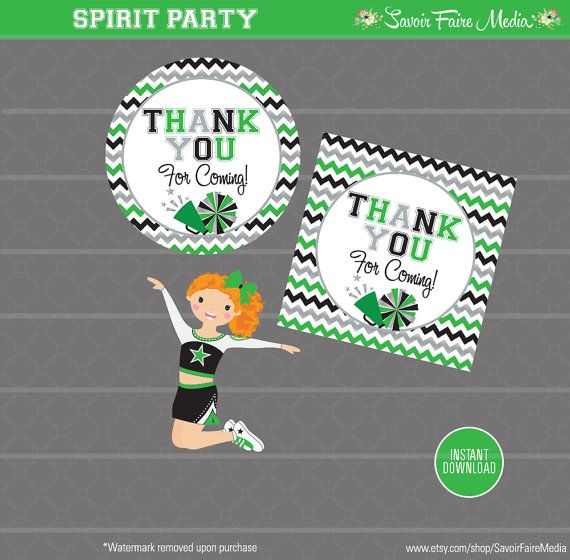Cheerleading Favor Tag Sticker Design Cheerleader Cheer Invite