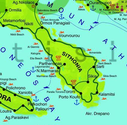 Sithonia | Maps | Greece, Places, Map