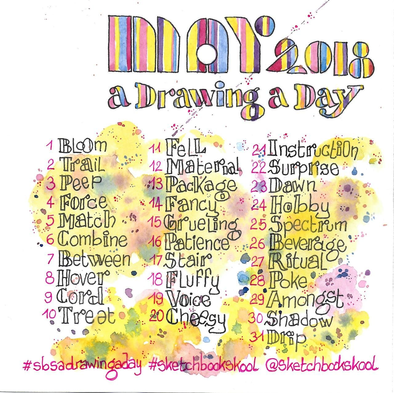 A Drawing A Day May 2018 Drawing Word Prompt List