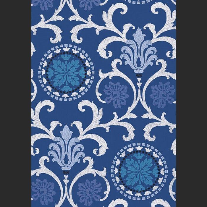 Papiers peints Banyan - Navy Blanc, Noir, Bleu   Color   Marine ...