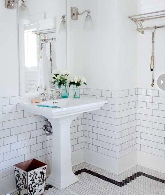 35 Vintage Black And White Bathroom Tile Ideas And Pictures White Bathroom Tiles Vintage Bathroom Tile Bathroom Tile Designs