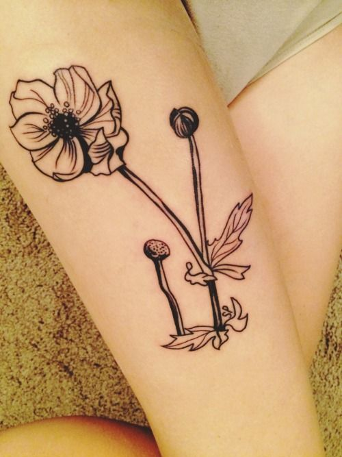 """elephantgunss:  First tattoo!    """"Meadow-Flowers"""" by Sylvia Plath. Pen and ink on paper."""