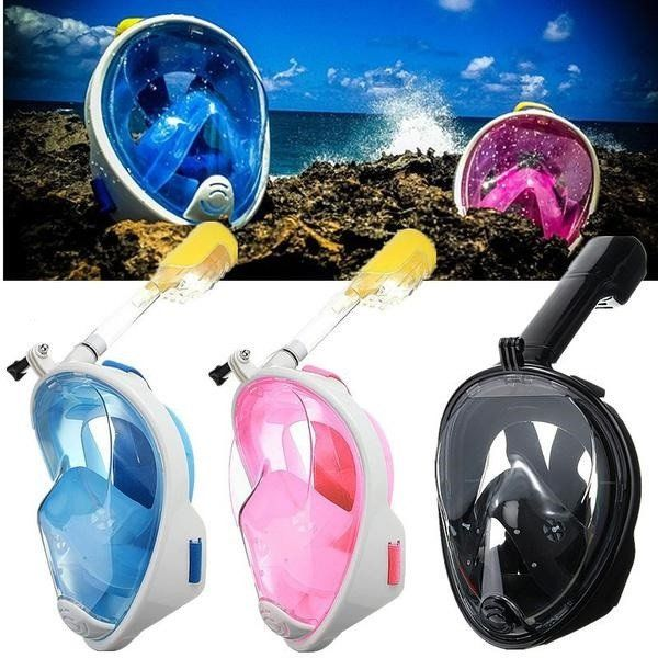 The 180 Diving and Snorkel Mask With GoPro Mount is a must have for all adventurers! The full-face design provides a 180-degree viewing area, giving you a vastly superior view over the standard diving mask.  This snorkel mask features a specially designed breathing tube that has an automatic shut off valve to prevent water from entering your mask when you dive below the water line. No more choking on water!