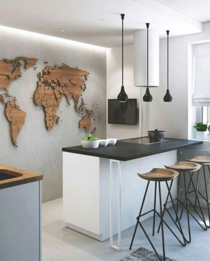 Pin by kerbi on maptastic pinterest fashion design and house small modern kitchen apartment decor with map atlas wall decor gumiabroncs Image collections